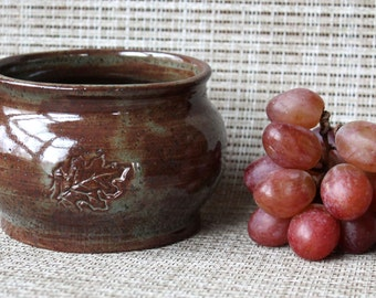 Oak Leaf Pottery Bowl - Wheel Thrown & Hand Stamped