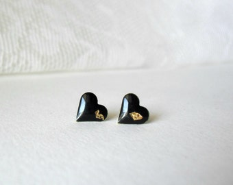 Black and gold Heart post earrings- Geometric studs- Delicate everyday earrings- One of a kind jewelry