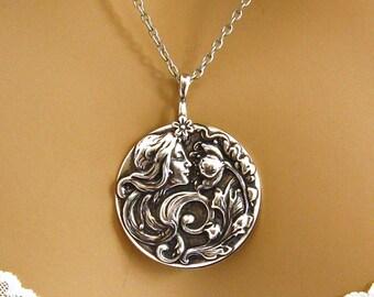 Art Nouveau Necklace - Art Nouveau Jewelry - Woman Flower Necklace – Silver Woman Flower Pendant – Large Silver Round Medallion Necklace