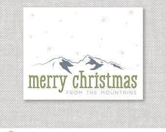 Digital Printable Christmas Card | Merry Christmas | Mountain | green, blue, and gray