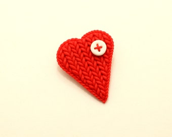 Brooch red heart