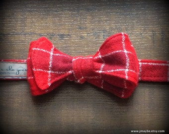 Vintage Red White Plaid Flannel Bow Tie by Steady As She Goes Christmas holiday party ring bearer wedding boys costume 3 6 12 mo 2T 3T 4 5