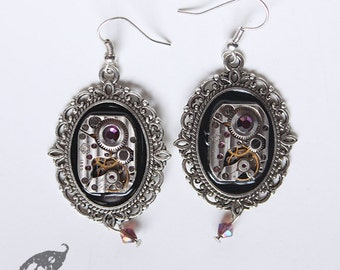 Steampunk Neo Victorian Silver Cameo Earrings with Antique Etched Striped Watch Movement and Purple Amethyst Swarovski Crystals