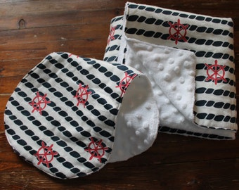 Minky Baby Blanket & Burp Cloth - Nautical Rope and Wheel - Boutique Baby Boy, Flannel, Shower Gift