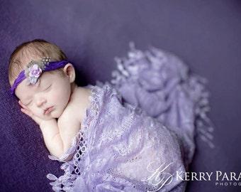 Purple silk newborn tieback