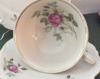 Bareuther China Bavaria Rose Bud Teacup, Saucer and Plate