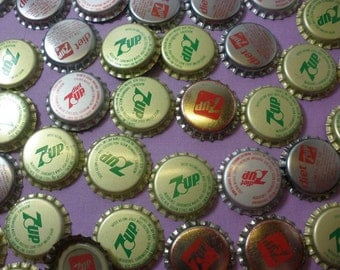 Lot of 75 Soda Pop Bottle Caps, 7 Up Brand , Unused Craft Supplies