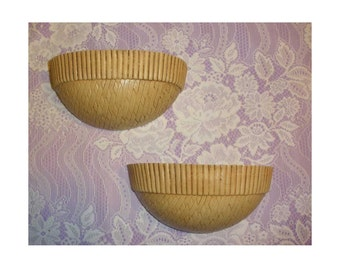Vintage Homco Pair of Faux Wicker Wall Pockets for Home Interiors, Vintage 1980's