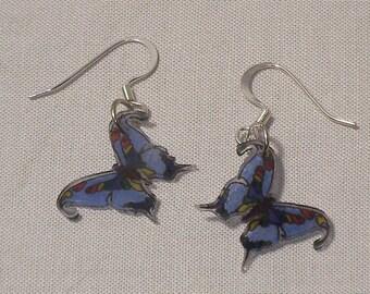 Light Blue Rainbow Butterfly Shrinky Dink Earrings