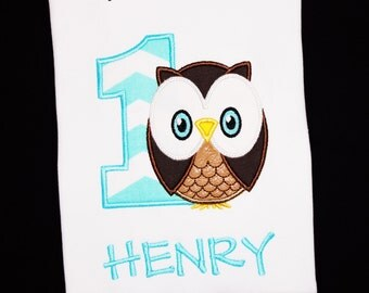 Birthday Boy Owl Personalized Applique Embroidered Shirt or Bodysuit-Custom-You Pick the Age and Colors