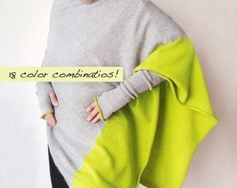 Custom made pure cashmere poncho/Duo color poncho/Pure cashmere arm warmers/Fingerless long gloves/Arm warmers/Pure Cashmere hat/Duo color