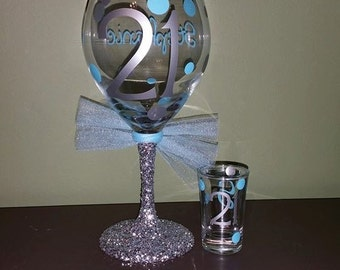 21st Birthday Personalized Glitter Stemmed Wine Glass AND Matching 21st Birthday Shot Glass SET; Celebration; Present/Gift