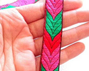Pink, Fuchsia And Green Faux Silk Thread Lace Trim, 20mm wide - 041203L60