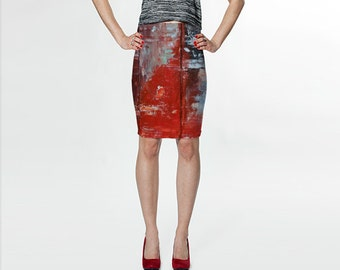 Orange Abstract Curve Enhancing Pencil Skirt, Eco-friendly and printed from original art