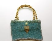 Turquoise Blue Grey Hand Knit Felted Purse Bag - Bejeweled and Bedazzled