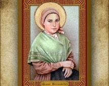 St. Bernadette Soubirous of Lourdes Wood Plaque & Holy Card GIFT SET #3062