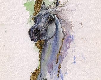 Grey arabian horse original gilded watercolour painting