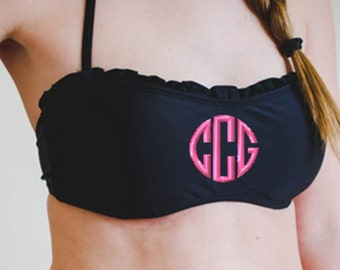 SALE! Monogrammed Bandeau Ruffle Bikini Bathing Suit Top Monogram