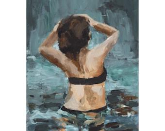 Look Ahead | Giclee Art Print, 11 x 14 art print, Ocean Wall Art, Sea Painting, Girl Swimming