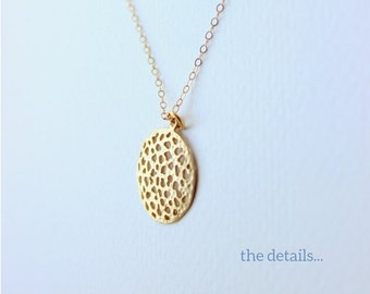 Matte Plated Gold Textured Round Pendant Necklace