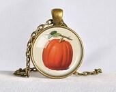 PUMPKIN JEWELRY Pumpkin Pendant Orange Pumpkin Necklace Vintage Pumpkin Drawing Botanical Illustration Fall Jewelry Orange White Green