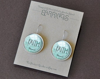FAITH EARRINGS Hebrews 11 Faith Jewelry Bible Quote Earrings Scripture Jewelry Aqua Silver Christian Gift for Christian