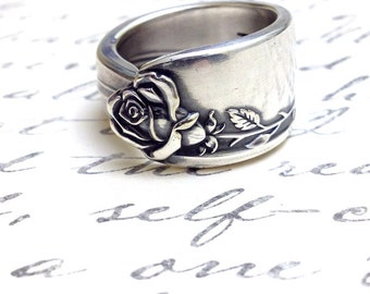 Rose Spoon Ring Circa 1955 - Silverware Jewelry