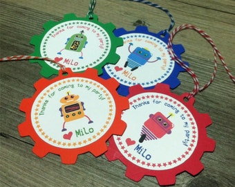 Robot Favor Tags - Bright Colors - Thank You Tags, Gift tags - Personalized  - baby shower, birthday - set of 12