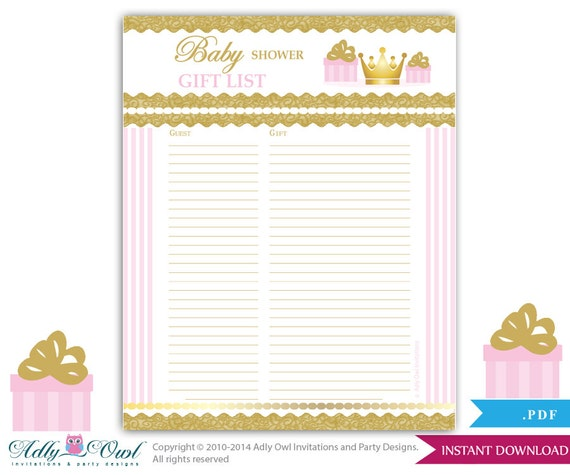 Girl Princess Guest Gift List Guest Sign in Sheet Card for