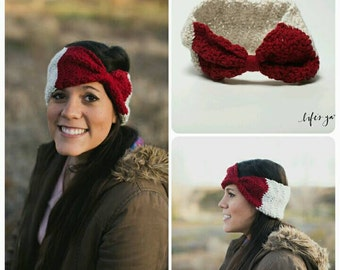 Crochet Pattern Ripple Bow Ear Warmer Pattern. Instant Digital download CP102RBE