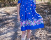Beautiful Blue Vintage Dress - size M/L/XL - floral hippie chic, bohemian gypsy dress