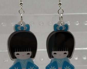 Cute kawaii blue Japanese girl earrings, doll earrings, geisha earrings