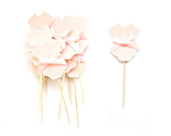12 Pale Pink Baby Girl Cupcake Toppers - Baby cupcake toppers, Baby Girl cupcake toppers, Baby shower cupcake toppers
