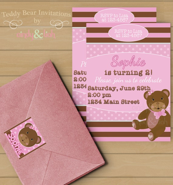 Items Similar To Pink And Brown Teddy Bear Birthday