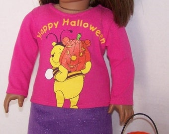 Up-cycled Pooh Halloween T-shirt with Purple Corduroy Mini Skirt and Leggings - fits 18 inch dolls