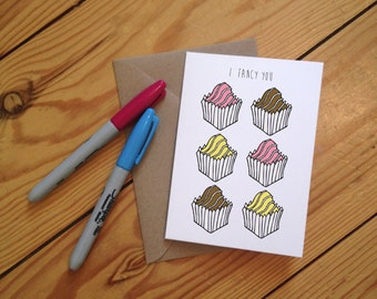 I Fancy You - illustrated French Fancy Greetings Card