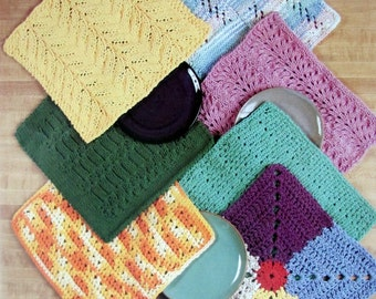 Lily Dishcloths To Knit and Crochet Featuring a Knit Baby Cloth Using Sugar and Cream Yarn