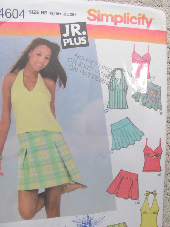 Simplicity 4604 JR Trend Girls Mini Skirts By