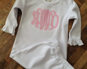White applique monogram ruffle sleeve infant gown
