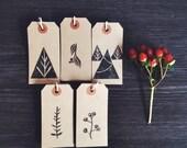 Rustic Christmas Gift Tags Set Hand Printed Notes Botanical Illustration Woodland Tags Holiday Card