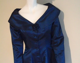 Vintage Sailor Collar Fitted  Peplum Jacke / Blouse - Petrol Blue Taffeta