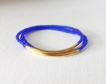 Sapphire blue bracelet, noodle bracelet, royal blue bracelet, minimalist bracelet, seed bead bracelet, minimalist jewelry,noodle bracelet
