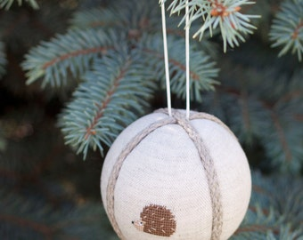 Rustic christmas decor, christmas tree ball  natural linen covered with cross stitch picture