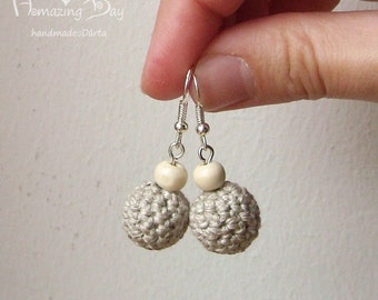 MINI LINEN EARRINGS Crochet Rustic Grey Earrings Natural gift Crochet bead Jewelry. Dangle Linen crochet ball earrings. Small Eco Earrings