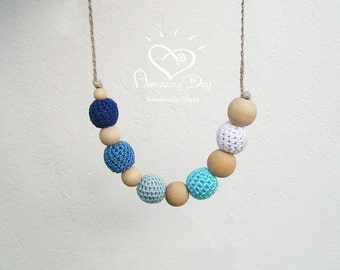 Blue Ombre Nursing Necklace White Crochet Waldorf Teether 2016 Baby wearing Necklace, Original Handmade Simple Nursing New Modern Mommy Gift