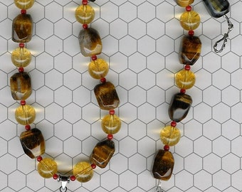 Mixology - Tiger Iron, Tiger's Eye, Citrine, Bamboo Coral, Sterling Silver Necklace