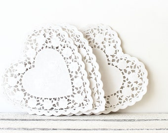 White Heart Paper Doilies, Wedding Favors, Gift Packaging, Valentines Day Wedding, French Lace Doily, White Paper Doilies, Bridal Shower