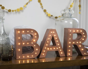 Freestanding BAR marquee letter light - battery operated