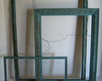 3 Vintage Ornate Wooden Frames, Upcycled with Aqua Chalk Paint