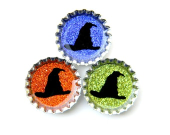 Witches Hats - Halloween Bottle Cap Magnets